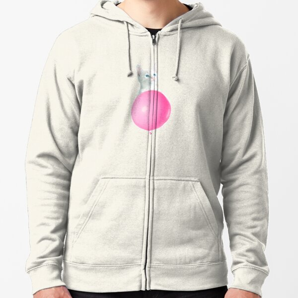 White Cat's Travel by Pink Balloon by Alice Monber Zipped Hoodie