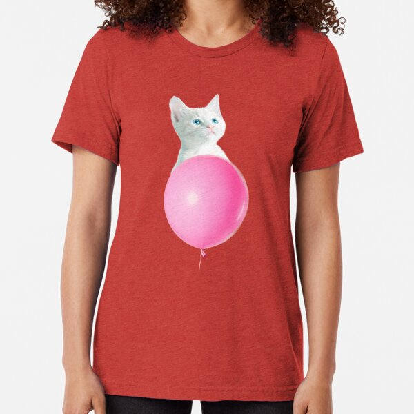 White Cat's Travel by Pink Balloon by Alice Monber Tri-blend T-Shirt