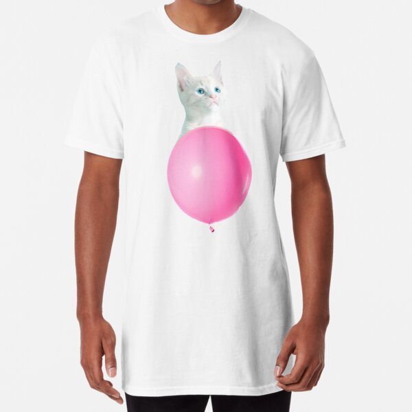 White Cat's Travel by Pink Balloon by Alice Monber Long T-Shirt