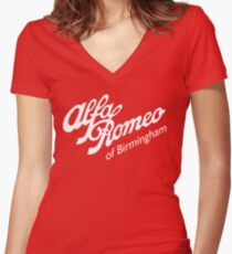 Classic Alfa of Bham White Women's Fitted V-Neck T-Shirt