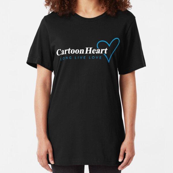 Cartoon Heart Logo Shirt - Blue Accent Slim Fit T-Shirt