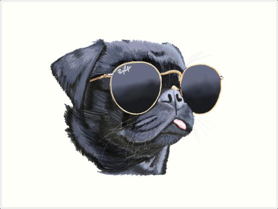 dfeb3cbf4d1c3 Pug wearing Sun Glasses Illustration Dog