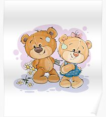 Two couple Bears in love Poster