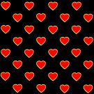Red Valentine Love Hearts on a Black Background by Artist4God