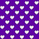3-D Look Silver Love Hearts on a Purple Background by Artist4God
