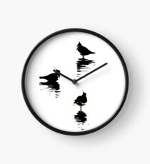 Stylized trio of lapwings artwork Waterbird collection Clock