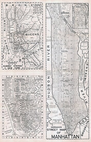 old street map of manhattan 1945 hd new york city united states