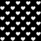 Silver 3-D Look Love Hearts on a Black Background by Artist4God