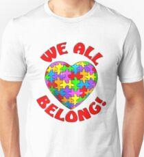 """We all belong"" Autism Awareness Heart Slim Fit T-Shirt"