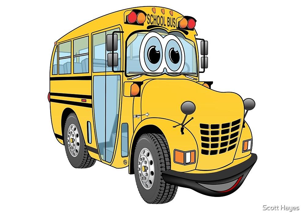 School Bus Cartoon by Graphxpro