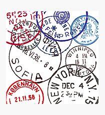 Vintage Passport Stamps Photographic Print