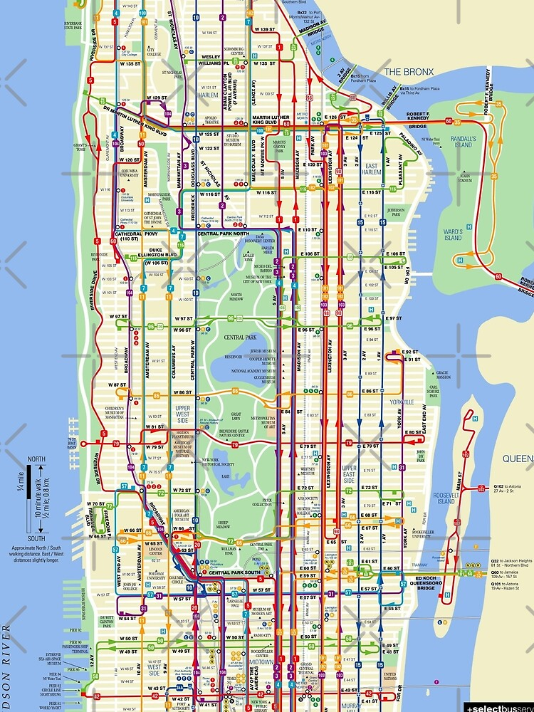 Manhattan Bus Map Manhattan Bus Map   HD   New York City   United States