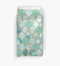 Mint mermaid scales - gold Duvet Cover