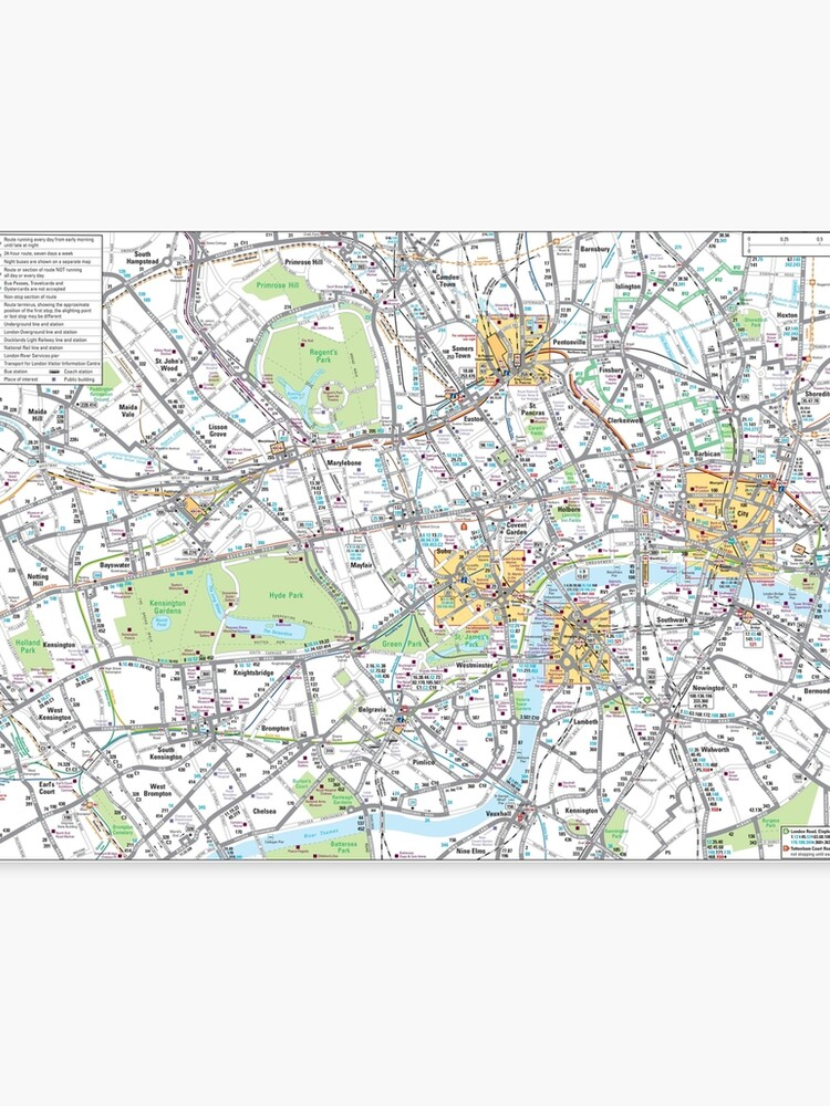 Map Of Central London To Print.Central London Bus Map Hd England Canvas Print
