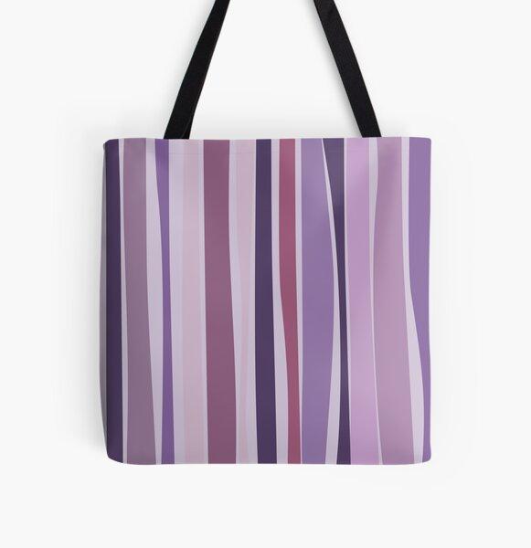Retro Stripes Grape Purple All Over Print Tote Bag