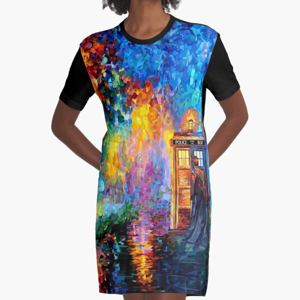 Mysterious Man at beautiful Rainbow Place Graphic T-Shirt Dress