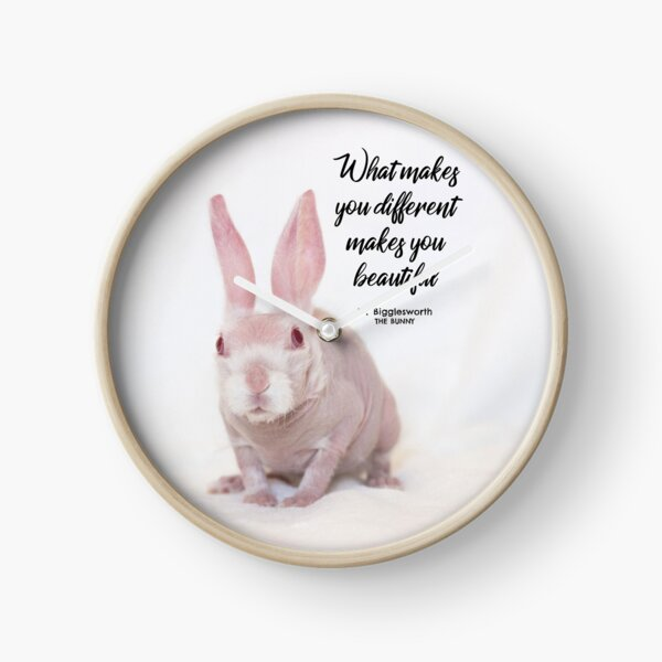 Mr Bigglesworth the bald rabbit - What makes you different makes you beautiful Clock