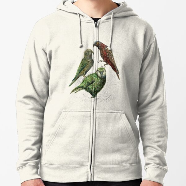 Three native parrots of New Zealand Zipped Hoodie