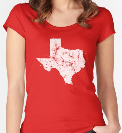 Vintage State Map Silhouette of Texas (White) Fitted Scoop T-Shirt