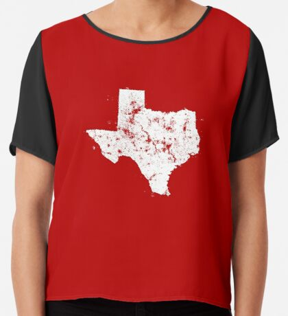 Vintage State Map Silhouette of Texas (White) Chiffon Top