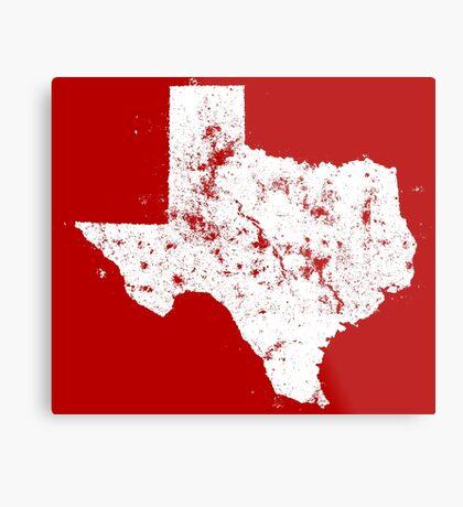 Vintage State Map Silhouette of Texas (White) Metal Print