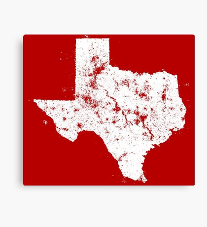 Vintage State Map Silhouette of Texas (White) Canvas Print