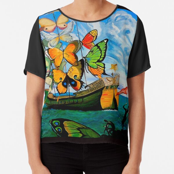 BUTTERFLY SHIP : Vintage Dali Abstract Painting Print Top mousseline