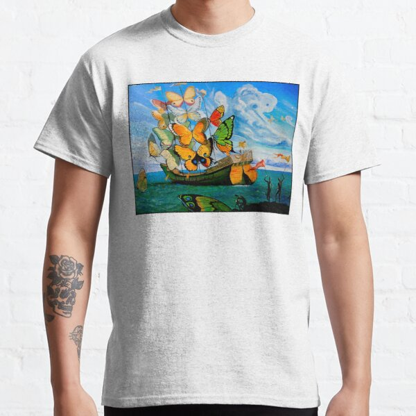 BUTTERFLY SHIP : Vintage Dali Abstract Painting Print Classic T-Shirt