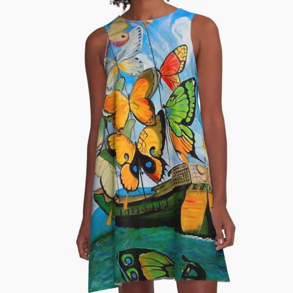 BUTTERFLY SHIP : Vintage Dali Abstract Painting Print A-Line Dress