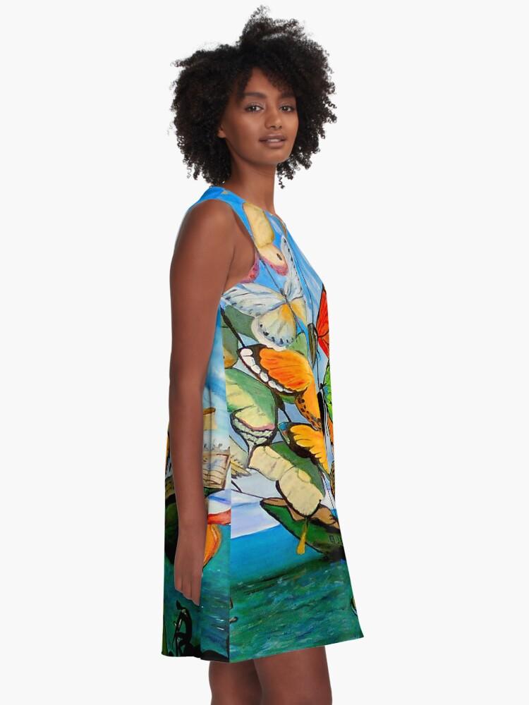 Alternative Ansicht von SCHMETTERLING LIEFERUNG: Vintage Dali abstrakte Malerei drucken A-Linien Kleid