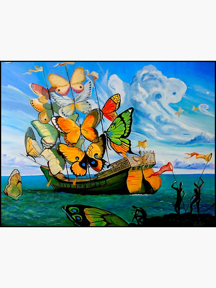 BUTTERFLY SHIP : Vintage Dali Abstract Painting Print by posterbobs