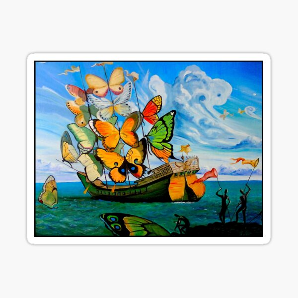 BUTTERFLY SHIP : Vintage Dali Abstract Painting Print Sticker