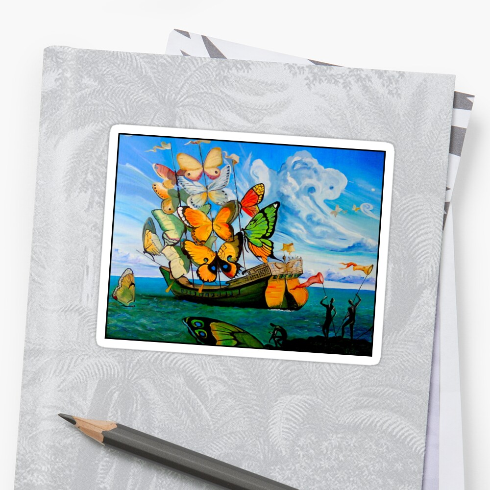 BUTTERFLY SHIP : Vintage Dali Abstract Painting Print Stickers