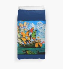 BUTTERFLY SHIP : Vintage Dali Abstract Painting Print Duvet Cover
