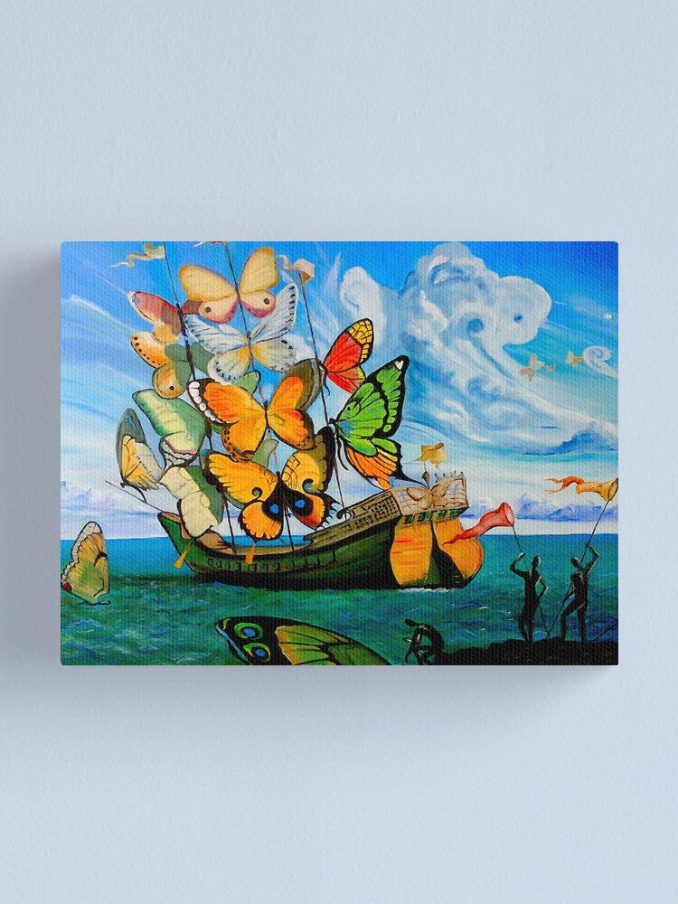 Alternate view of BUTTERFLY SHIP : Vintage Dali Abstract Painting Print Canvas Print