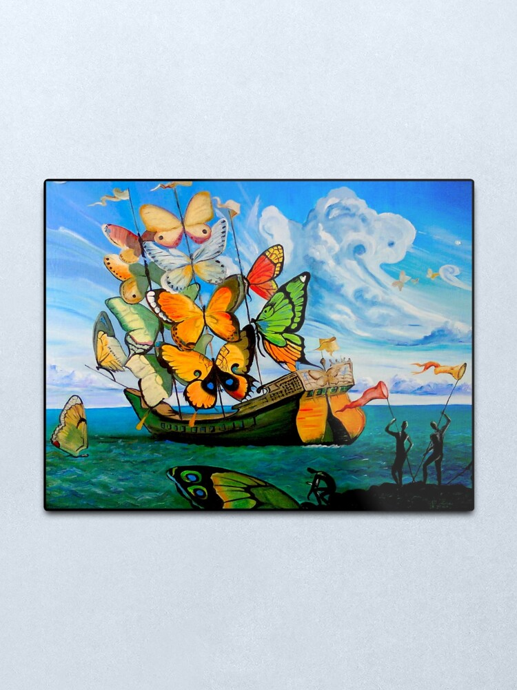 Alternate view of BUTTERFLY SHIP : Vintage Dali Abstract Painting Print Metal Print