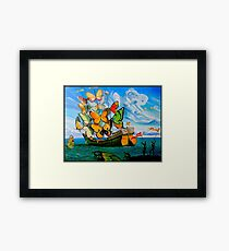 BUTTERFLY SHIP : Vintage Dali Abstract Painting Print Framed Print