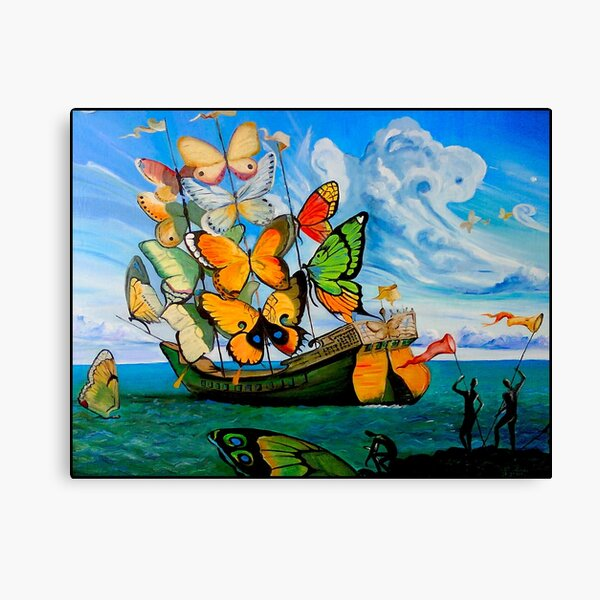 BUTTERFLY SHIP : Vintage Dali Abstract Painting Print Canvas Print