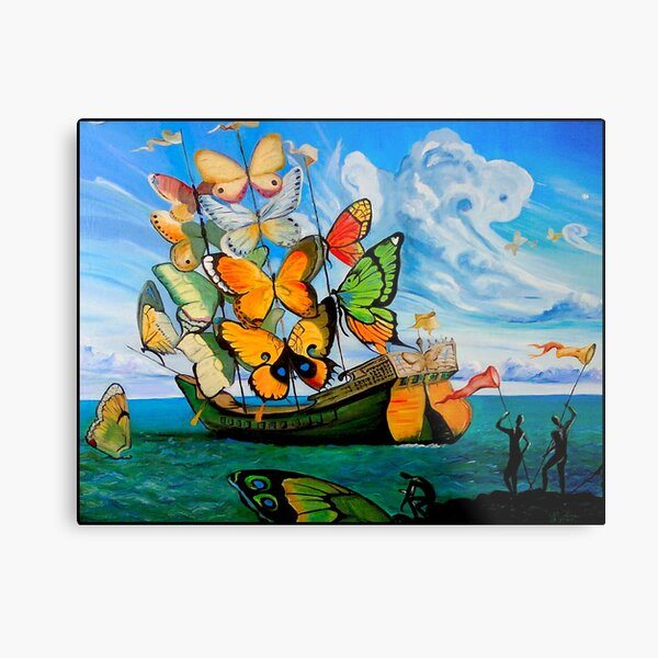 BUTTERFLY SHIP : Vintage Dali Abstract Painting Print Metal Print