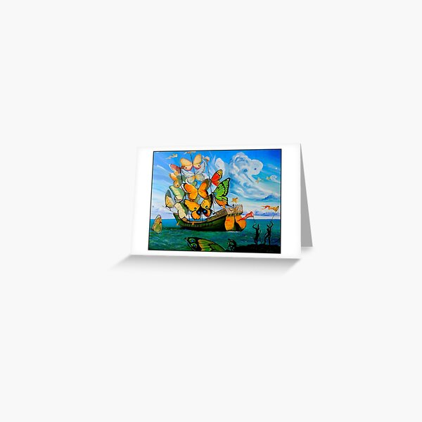 BUTTERFLY SHIP : Vintage Dali Abstract Painting Print Greeting Card