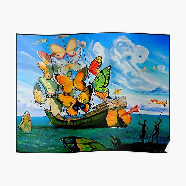 BUTTERFLY SHIP : Vintage Dali Abstract Painting Print Poster