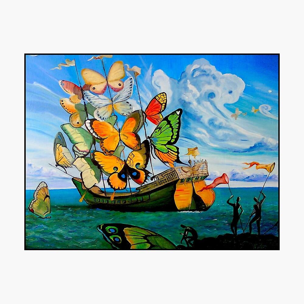 SCHMETTERLING LIEFERUNG: Vintage Dali abstrakte Malerei drucken Fotodruck