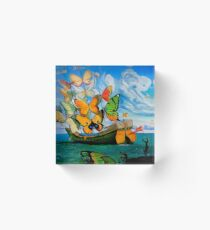 BUTTERFLY SHIP : Vintage Dali Abstract Painting Print Acrylic Block
