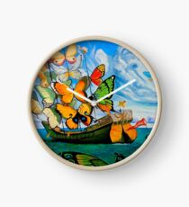 BUTTERFLY SHIP : Vintage Dali Abstract Painting Print Clock