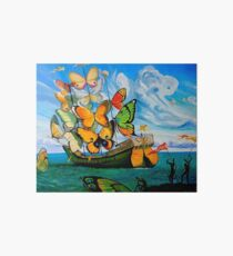 BUTTERFLY SHIP : Vintage Dali Abstract Painting Print Art Board