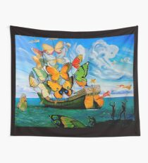 BUTTERFLY SHIP : Vintage Dali Abstract Painting Print Wall Tapestry