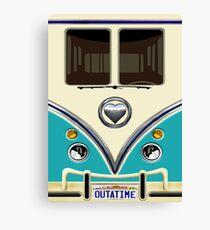 kawaii Blue teal love bug mini bus Canvas Print