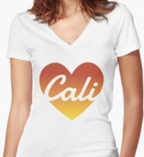 Cali Love Women's Fitted V-Neck T-Shirt