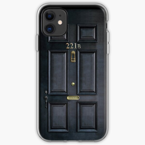 221b Baker Street schwarze Holztür iPhone Flexible Hülle