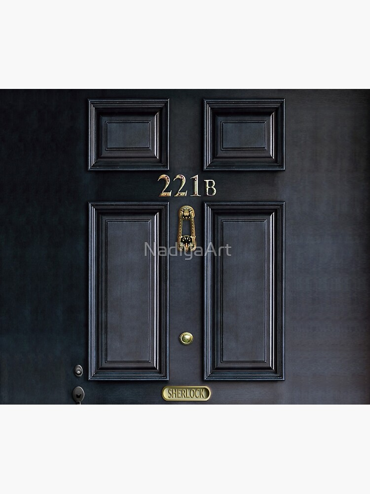 221b baker street black wood door by NadiyaArt